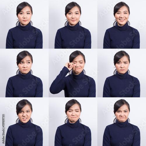 Obraz na płótnie Collage of woman different emotion