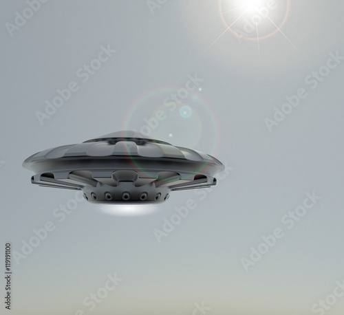 3D rendering UFO.The spacecraft against the sky .