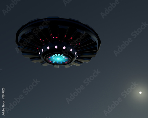3D rendering UFO.Spacecraft on the background of the lunar sky .