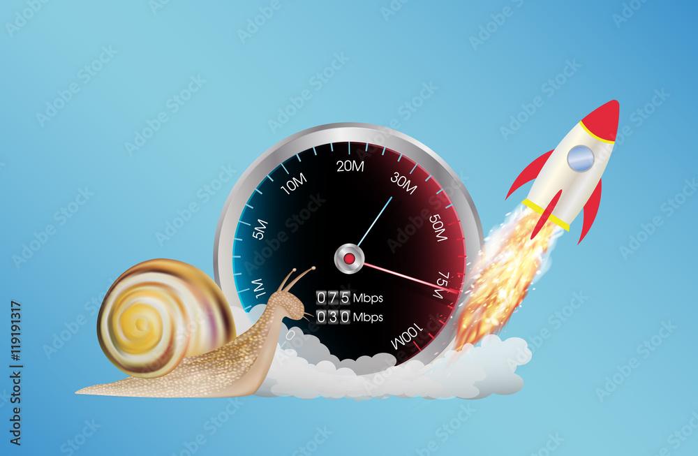 Fototapeta internet speed meter with rocket and snail