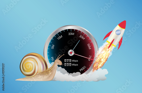Fotografía  internet speed meter with rocket and snail
