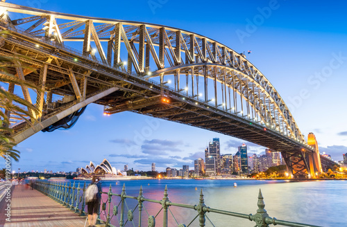 Skyward night view of Sydney Harbour Bridge © jovannig