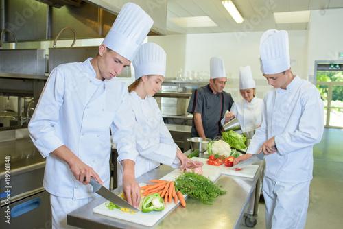 Fotografie, Obraz  Chef supervising team of trainees