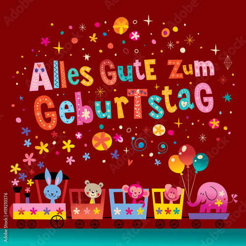 Alles Gute Zum Geburtstag Deutsch German Happy Birthday Greeting Card With Cute Animals Buy This Stock Vector And Explore Similar Vectors At Adobe Stock Adobe Stock