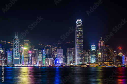 Foto auf Leinwand Hongkong Nightview of Victoria Harbour in Hong Kong (香港 ビクトリアハーバー夜景)