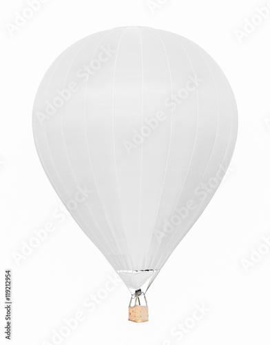 Fotobehang Ballon White hot air balloon with basket isolated on white background