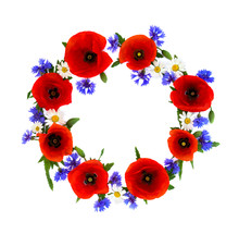 Wreath Of Red Poppies, Cornflowers And Chamomile On White Background With Space For Text. Flat Lay