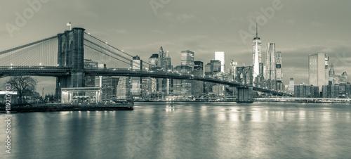 Fototapeten New York Panoramic view of Brooklyn Bridge and Manhattan in New York Cit