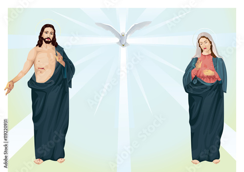 Photo Jesus Christ and Blessed Virgin Mary