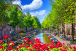 canvas print picture - Canal in Amsterdam