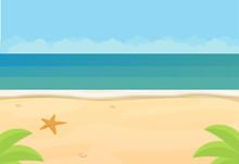 Sunny Tropical Beach, Ocean, Flat Vector Background