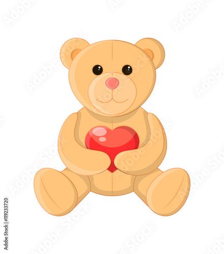 Cute teddy bear holding a heart, soft toy, vector illustration and art #119233720