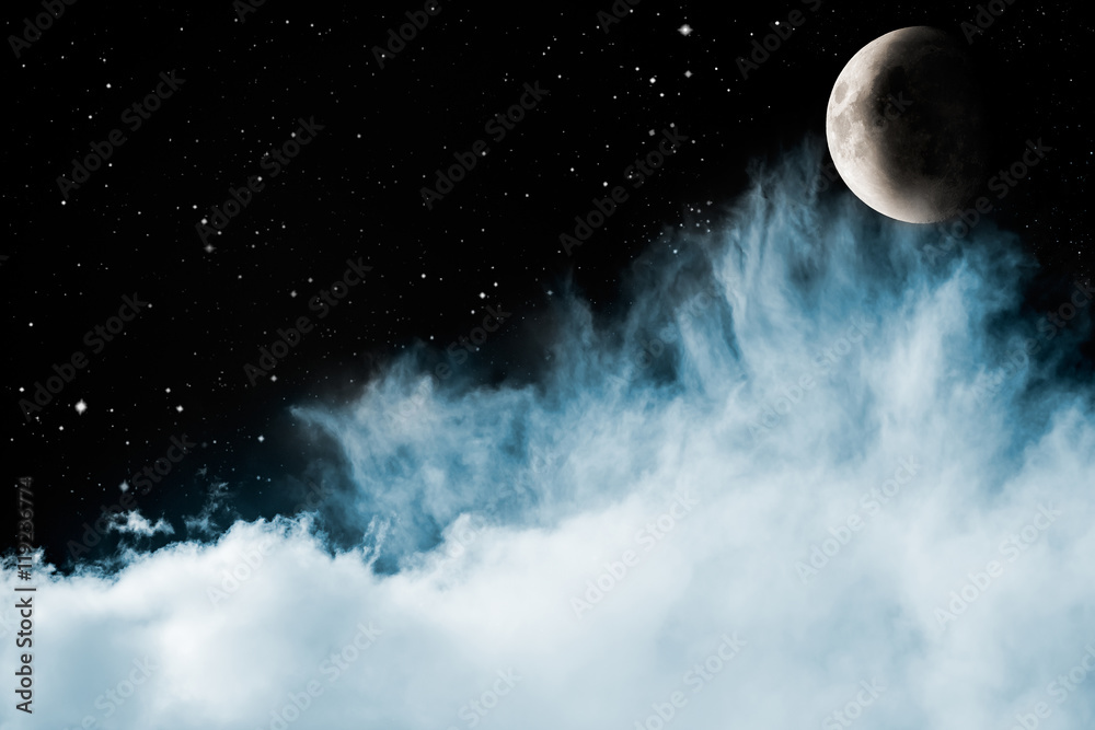 Blue Clouds and Moon. Wispy blue and cyan clouds in a sky filled with stars with a crescent moon rising.