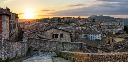 Fotobehang Grijs Perugia (Umbria) panorama from Porta Sole at sunset