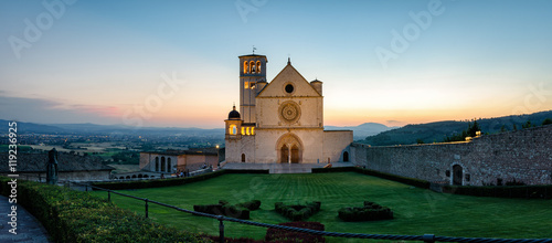 Assisi (Umbria) Basilica di San Francesco at sunset Wallpaper Mural