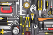 canvas print picture - tool set of pliers, wrenches, hammer, clamps, screwdrivers on gr