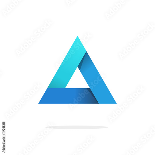 Fotografie, Tablou Triangle logo with strict strong corners vector isolated on white background, bl