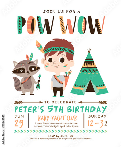 Kids Birthday Invitation Card With Cute Little Boy And Raccoon