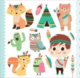 Fototapeta Fototapety na ścianę do pokoju dziecięcego - Set of cute tribal animals and a little boy in cartoon style