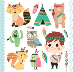 Set of cute tribal animals and a little boy in cartoon style