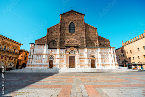 Fototapety, obrazy: San Petronio church on the main square in Bologna city. It is the largest church built in bricks in the world.