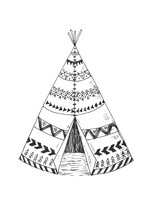 North American Indian Tipi With Tribal Ornament