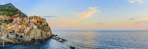 Fotobehang Liguria Amazing sunset view in Manarola one of the five villages of the Cinque Terre on Italy mediterranean coast