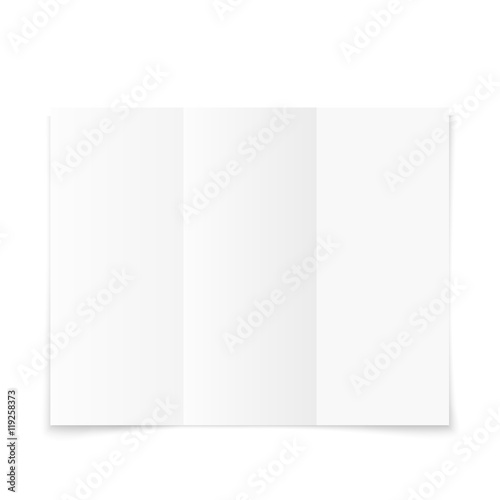 blank white tri fold paper brochure with shadow buy this stock