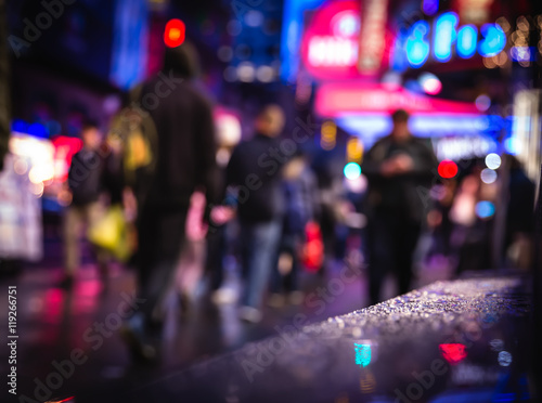 In de dag Art Studio NYC streets after rain with reflections on wet asphalt