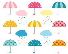 Rain Umbrellas And Clouds With...