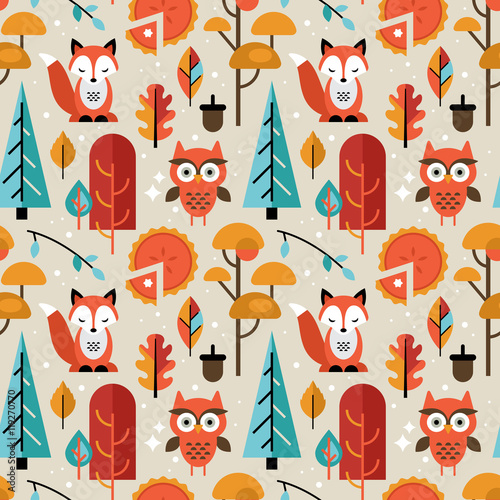 Cotton fabric Autumn seamless pattern with animals and trees for graphic and w
