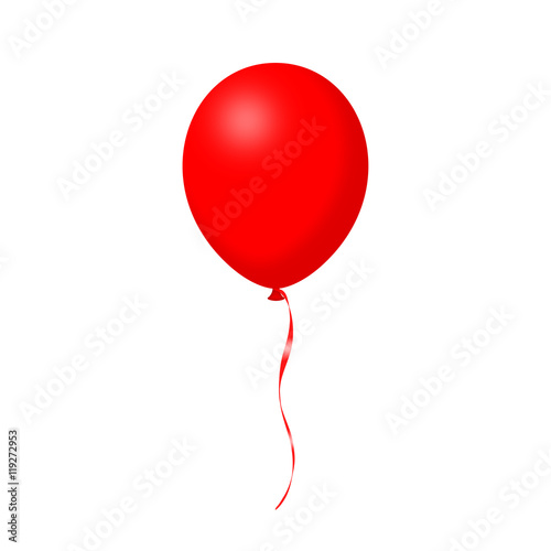 Fotografie, Obraz  balloon, vector, birthday, red, air, isolated, decoration, day, anniversary, hap