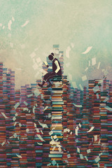 Fototapetaman reading book while sitting on pile of books,knowledge concept,illustration painting