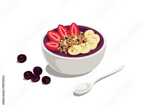 acai special: delicious and healthy meal of acai cream bowl with strawberry, gra Wallpaper Mural