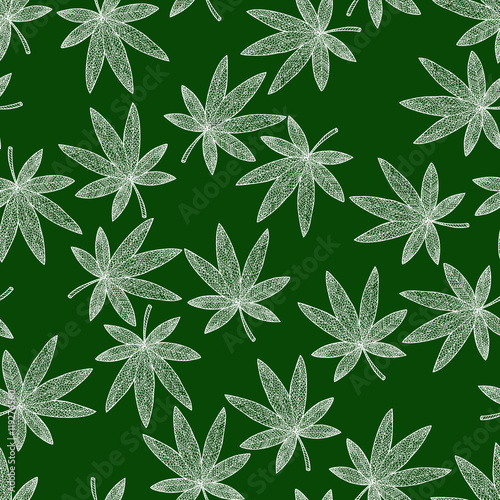 Seamless Pattern Background Marijuana Zen Tangle And Doodle Hashish Zentangle And Zendoodle Wallpaper Green And White Leafs Vector Textile Drug Buy This Stock Vector And Explore Similar Vectors At Adobe Stock