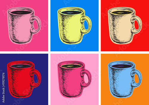 Fotografie, Obraz Set Coffee Mug Vector Illustration Pop Art Style