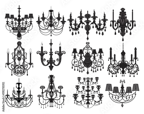Fotomural Classic chandelier Set Collection. Luxury decor accessory design