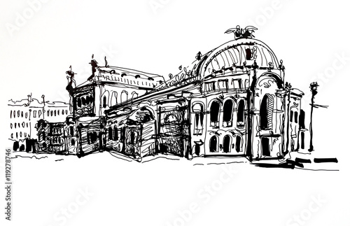 Poster  drawing of Ukraine Kyiv national opera and ballet theatre house