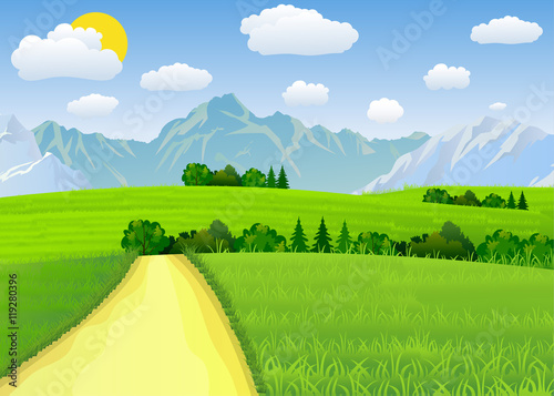 Foto auf Gartenposter Lime grun Summer landscape with meadows and mountains.