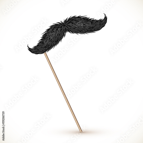 Photo Black realistic vector mustaches on stick