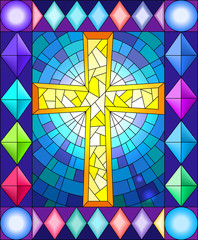 Naklejka Illustration in stained glass style with a cross