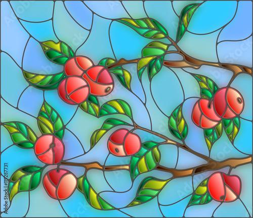 ilustracja-w-stylu-witrazu-z-galeziami-jabloni-owocami-i-liscmi-na-tle-nieba