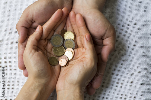 Hands Holding Money Wallpaper Mural