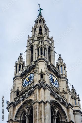 Photo  Neo-Gothic style City Hall building (1883) in Vienna, Austria.