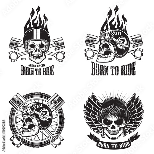 Photo  Speed racer. Born to ride. Set of emblems with human skulls in r