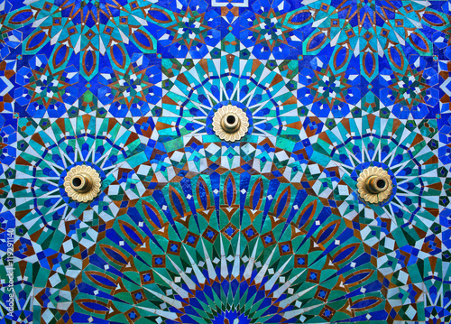 Keuken foto achterwand Marokko Fountain on the wall of Hassan II Mosque in Casablanca, Morocco.