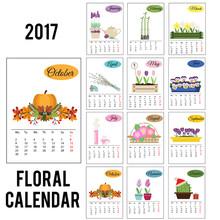 2017 Year Calendar With Season Flowers