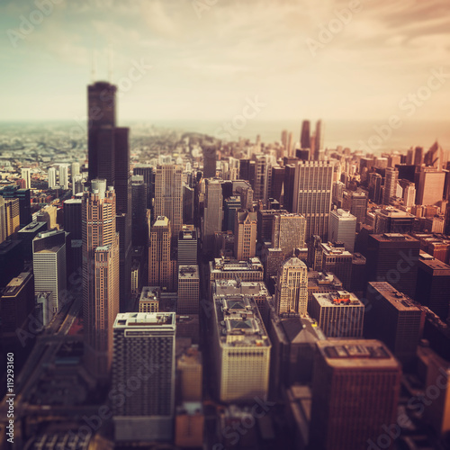 Poster Chicago Chicago Downtown- aerial view with Tilt shift effect