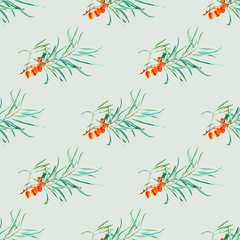 Fototapetafloral seamless pattern with sea buckthorn and branches.watercolor hand drawn illustration.green background.
