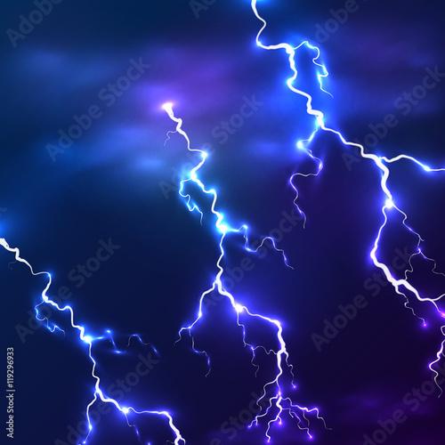 Valokuva  Blue shining vector lightnings background